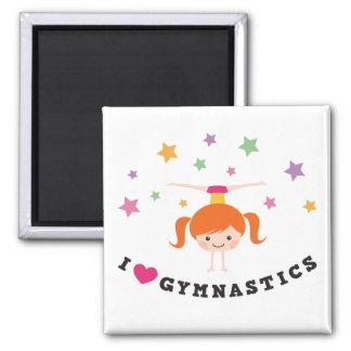 I love gymnastics cartoon girl red hair handstand square magnet
