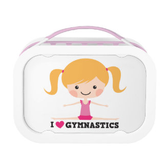 I love gymnastics cartoon girl side split lunchbox