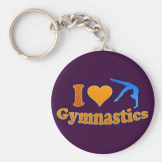 I LOve Gymnastics Orange Shirt Bag Gifts Basic Round Button Keychain