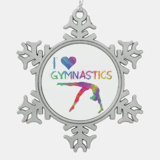 I Love Gymnastics Pewter Snowflake Ornament