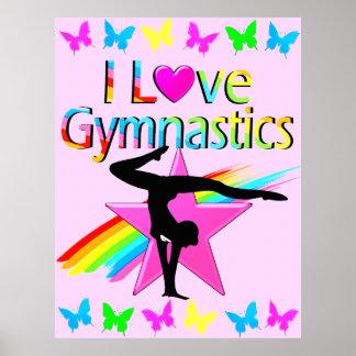 I LOVE GYMNASTICS RAINBOW GYMNAST GIRL DESIGN POSTER