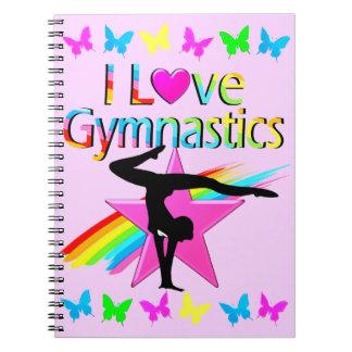 I LOVE GYMNASTICS RAINBOW GYMNAST GIRL DESIGN SPIRAL NOTEBOOK