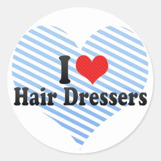 I Love Hair Dressers Round Sticker