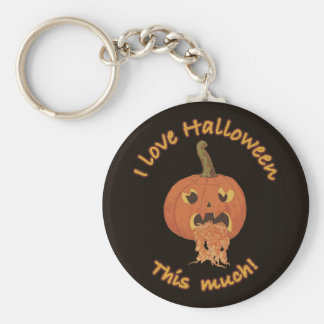 I Love Halloween Puking Pumpkin Keychain