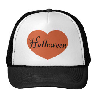 I Love Halloween With Orange Halloween Heart Hats