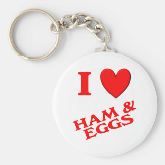 I Love Ham & Eggs Basic Round Button Keychain