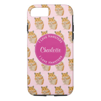 I love Hamsters Pink Hamster Pattern iPhone 8/7 Case