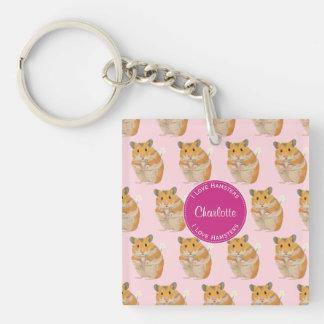 I love Hamsters Pink Hamster Pattern Keychain