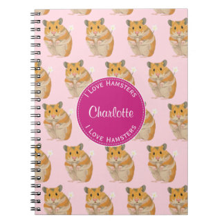 I love Hamsters Pink Hamster Pattern Notebook