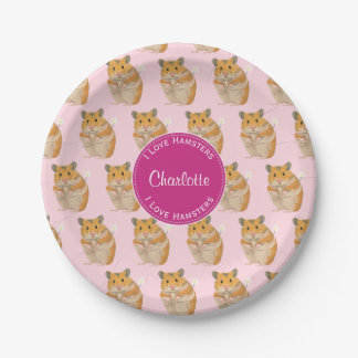 I love Hamsters Pink Hamster Pattern Paper Plate