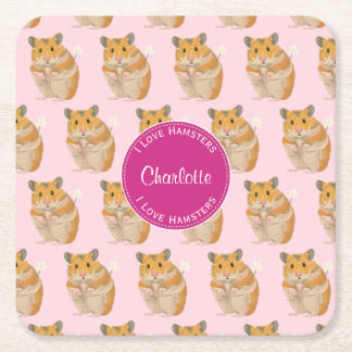 I love Hamsters Pink Hamster Pattern Square Paper Coaster