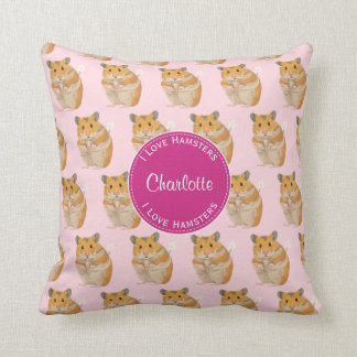 I love Hamsters Pink Hamster Pattern Throw Pillow