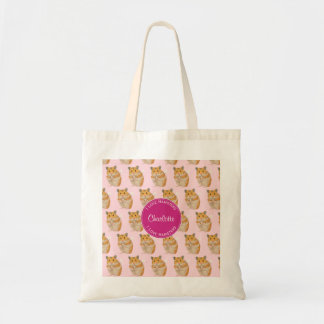 I love Hamsters Pink Hamster Pattern Tote Bag