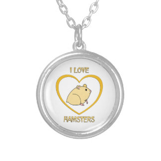 I Love Hamsters Silver Plated Necklace
