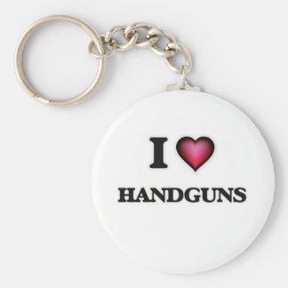 I love Handguns Basic Round Button Keychain