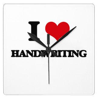I love Handwriting Square Wall Clock