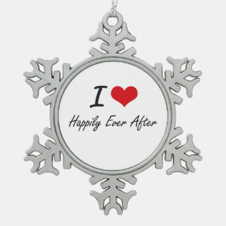 I love Happily Ever After Snowflake Pewter Christmas Ornament