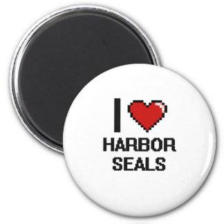 I love Harbor Seals Digital Design 2 Inch Round Magnet