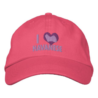 I Love Havanese Pink Embroidered Hat