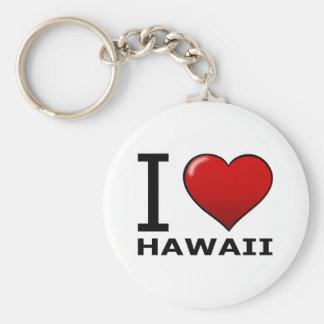 I LOVE HAWAII BASIC ROUND BUTTON KEYCHAIN
