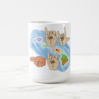 I LOVE HAWAII SIGN LANGUAGE BEVERAGE MUG