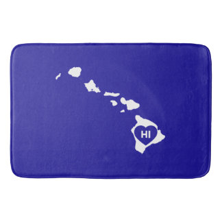 I Love Hawaii State White Bath Mats