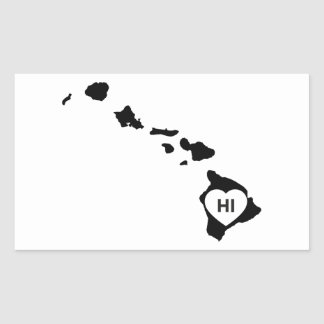 I Love Hawaii State White Stickers
