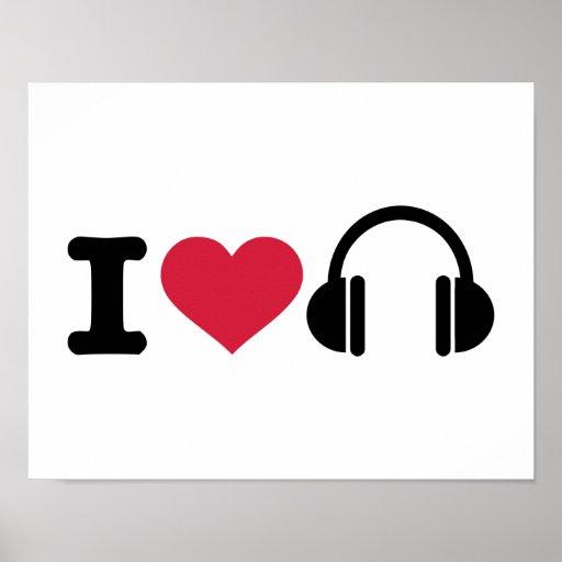 I love headphones music print