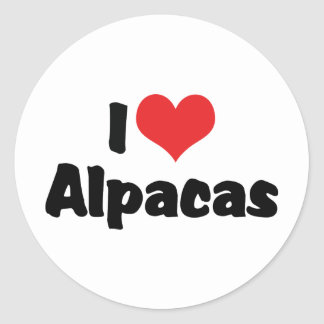 I Love Heart Alpacas Classic Round Sticker