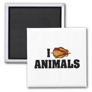 I Love Heart Animals - BBQ Cookout Lovers Square Magnet