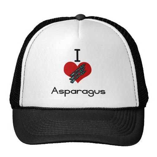 I love-heart asparagus trucker hats