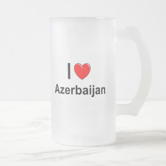 I Love Heart Azerbaijan Frosted Glass Beer Mug
