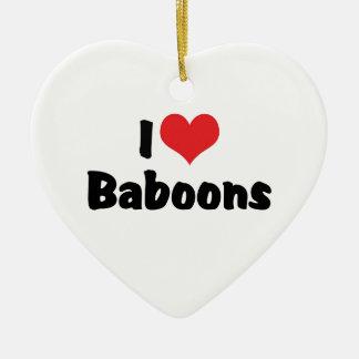 I Love Heart Baboons Ceramic Heart Ornament
