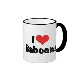 I Love Heart Baboons Ringer Coffee Mug