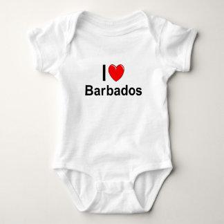 I Love Heart Barbados Baby Bodysuit