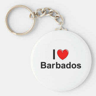 I Love Heart Barbados Keychain