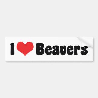 I Love Heart Beavers Bumper Sticker