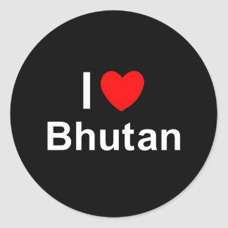 I Love Heart Bhutan Classic Round Sticker