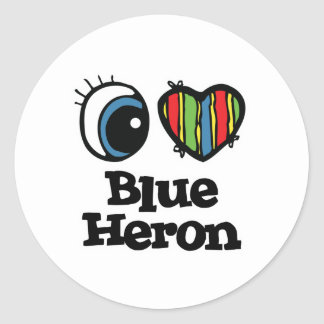 I Love (Heart) Blue heron Classic Round Sticker
