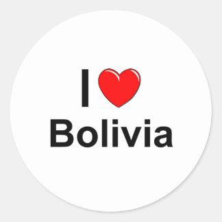 I Love Heart Bolivia Classic Round Sticker
