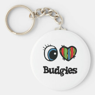 I Love (Heart) Budgies Keychain