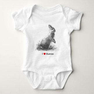 I Love (Heart) Bunnies: Rabbit in Pencil Baby Bodysuit