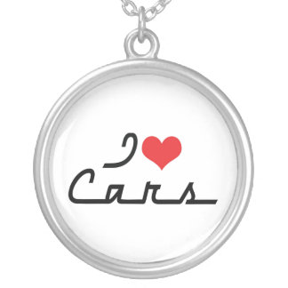 I Love Heart Cars - Classic Car Lover Silver Plated Necklace