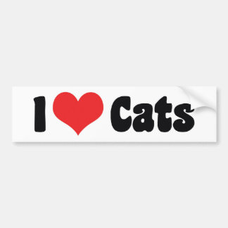 I Love Heart Cats - Cat Lover Bumper Sticker