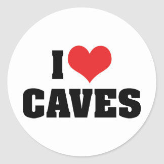 I Love Heart Caves - Cave Exploration Spelunking Classic Round Sticker