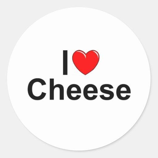 I Love (Heart) Cheese Round Sticker