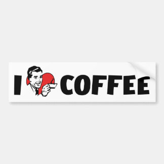 I Love Heart Coffee - Java Caffeine Lover Bumper Sticker