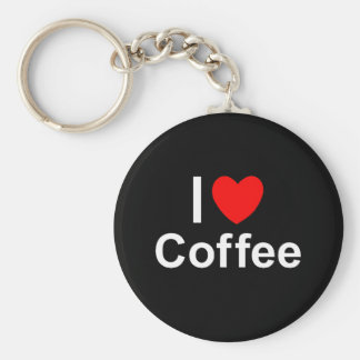 I Love Heart Coffee Keychain