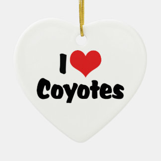I Love Heart Coyotes - Coyote Lover Ceramic Heart Ornament