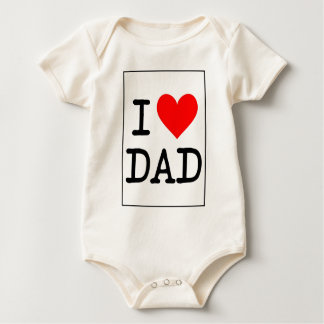 I Love (Heart) Dad Baby Bodysuit